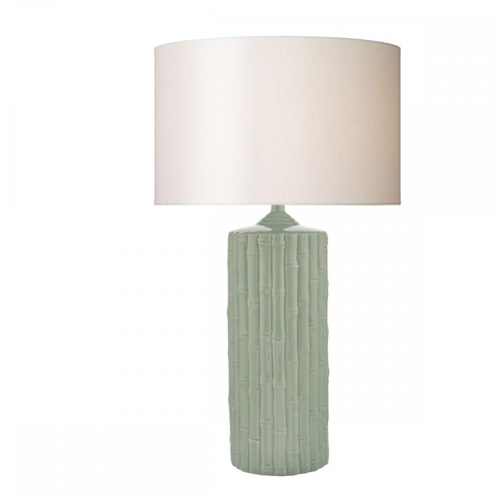 Rattan Mint Green Ceramic Table Lamp