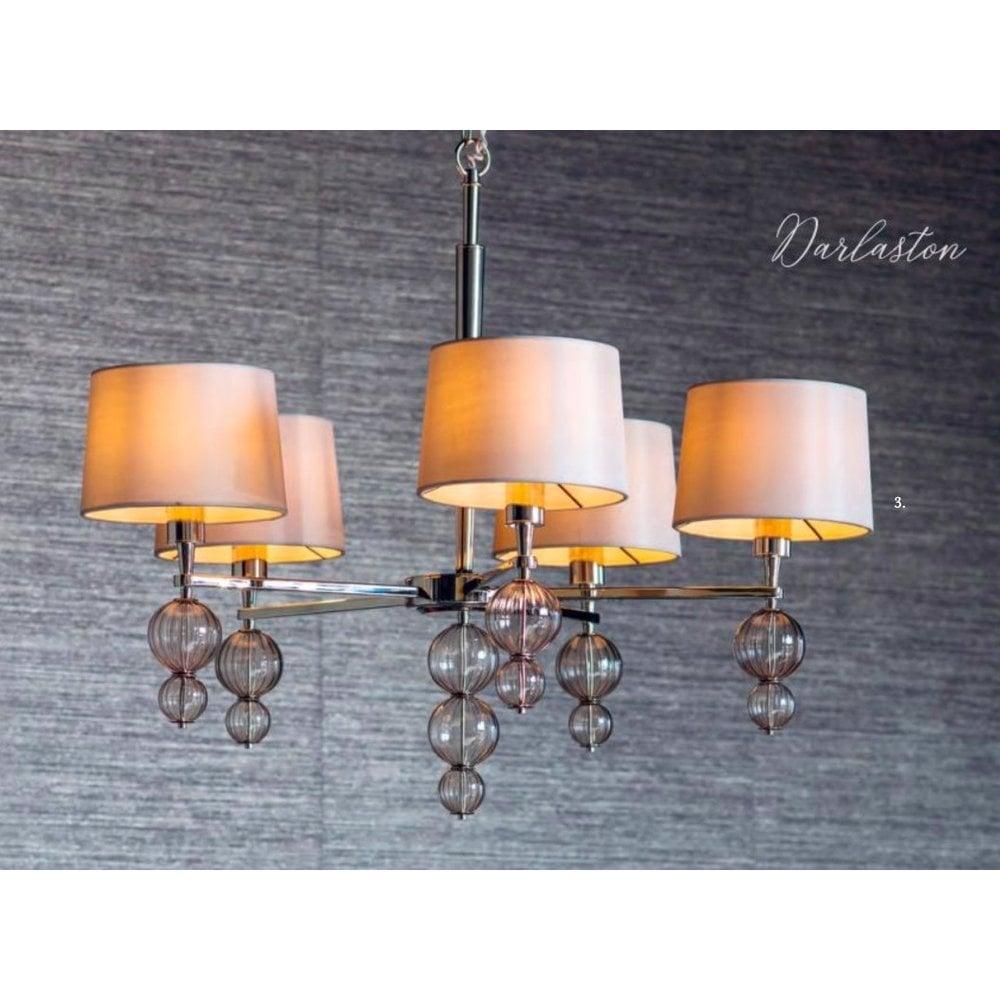 DARLASTON 5 light polished nickel pendant chandelier with shades