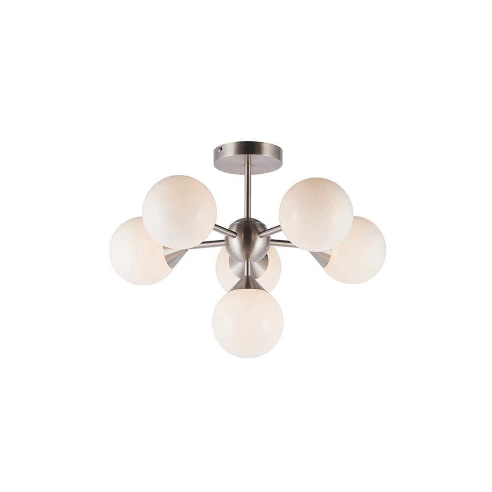 Endon Collection 77589 Oscar 6 Light Semi Flush In Satin Nickel With Gloss White Glass Online