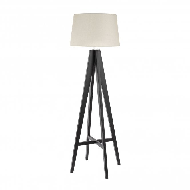 Searchlight 3540br Easel Floor Lamp Dark Wood With Cream Linen Shade Online Lighting Shop
