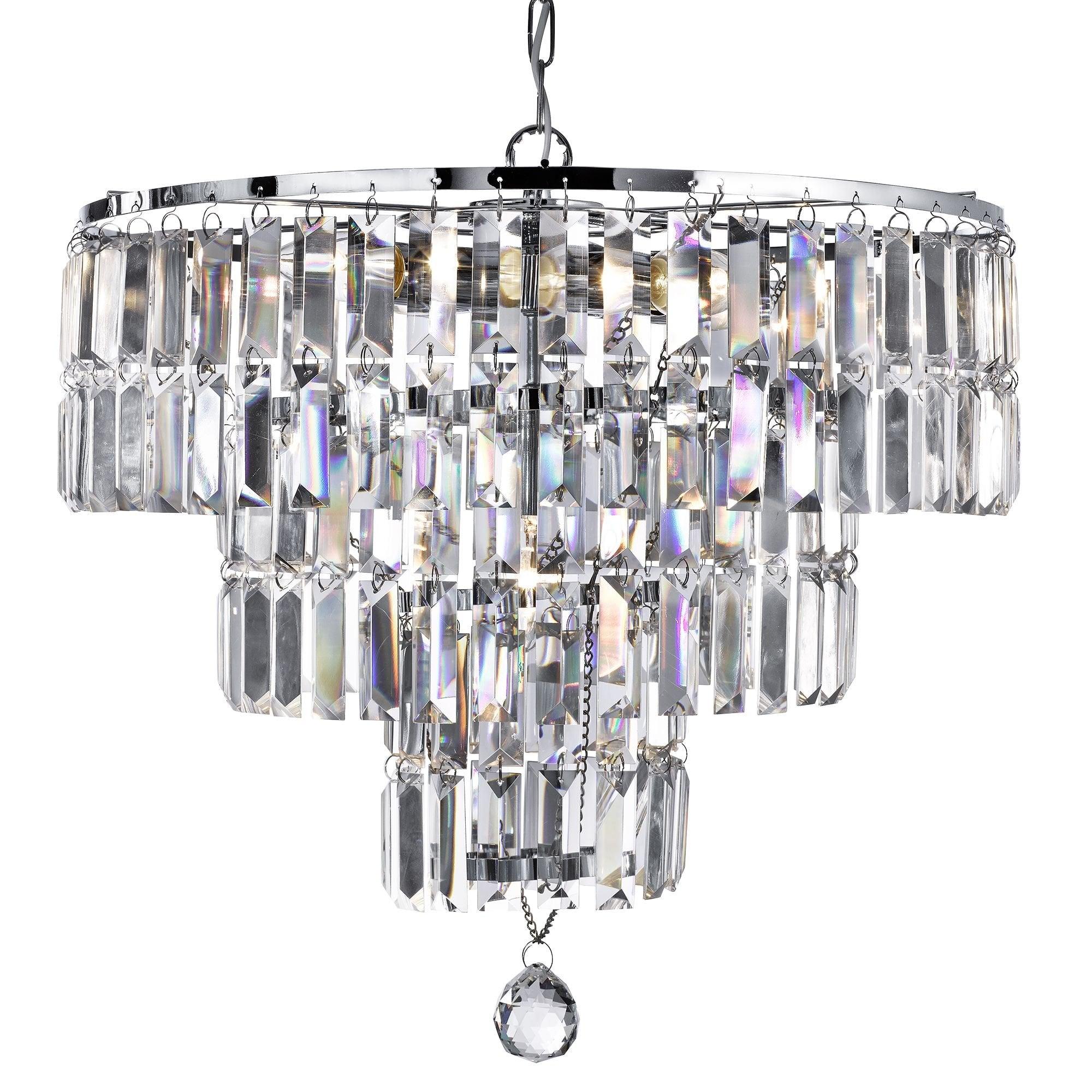 Chrome 5 light Crystal Chandelier