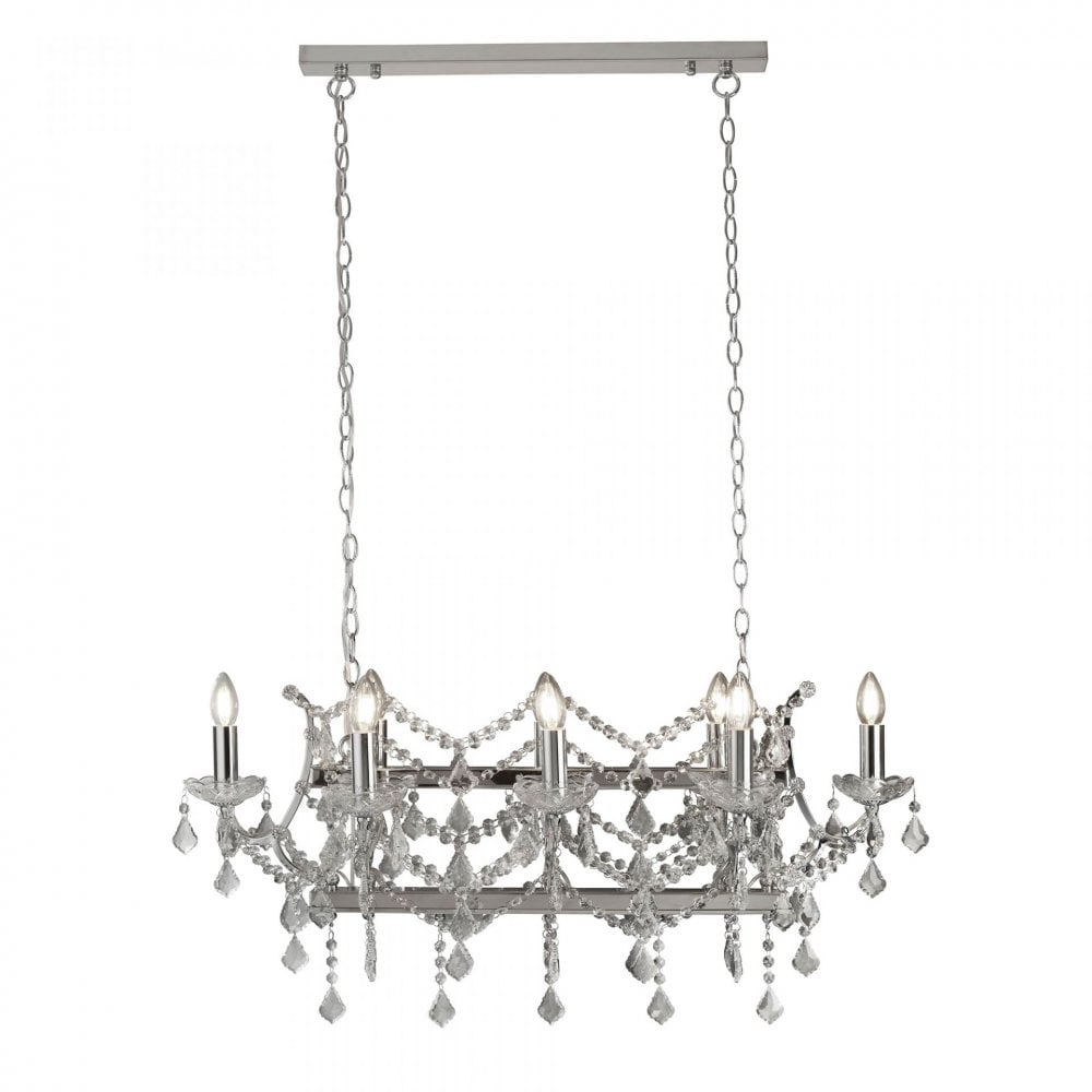 Florence 8 Light Pendant Bar Crystal Chrome