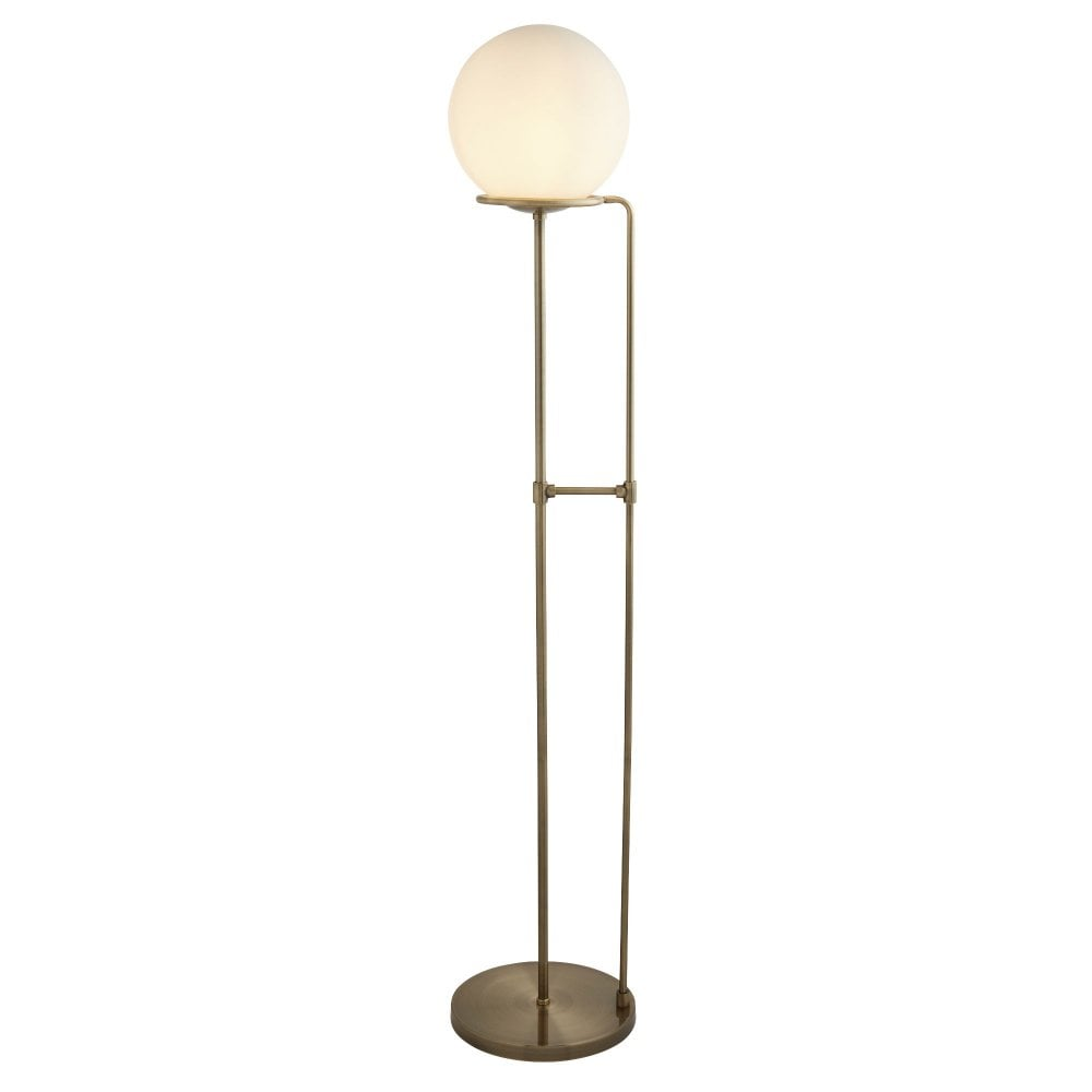 Sphere Floor Lamp Antique Brass With Opal White Glass Shade